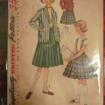 SALE Uncut 1950's Simplicity Sewing Pattern, 1740! Size 8 Girls/Kids/Children, Pleated Skirts/Blazer Jackets/50's school uniform/costume