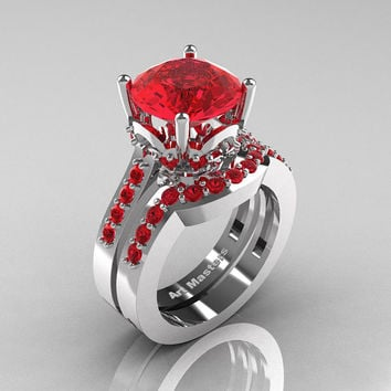 Classic 14K White Gold 3.0 Carat Ruby Solitaire Wedding Ring Set R301S-14KWGR
