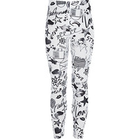 River Island Girls white doodle print leggings