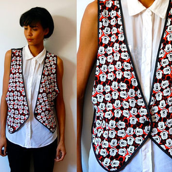 Vtg Mickey Mouse Printed Red White Black Button Down Vest