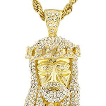Goldtone Iced Out Jesus Face Pendant with a 30 Inch Rope Chain Necklace