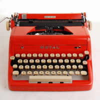 antique 1950s red royal quiet deluxe manual portable typewriter