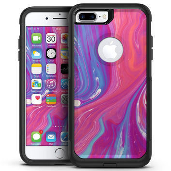 Marbleized Pink and Blue v391 - iPhone 7 or 7 Plus Commuter Case Skin Kit