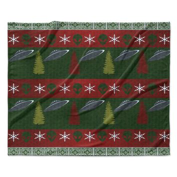 "Alias ""Xmas Files"" Green Red Fleece Throw Blanket"