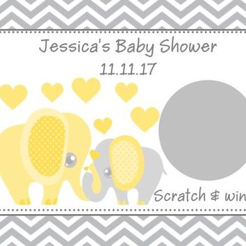 10 Yellow Elephant Baby Shower Scratch Off Cards