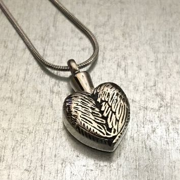 Cremation Necklace, Winged Heart Locket, Heart Urn, Wing Urn Locket, Ash Holder Necklace, Cremation Locket, Memory Locket, Cremation Jewelry
