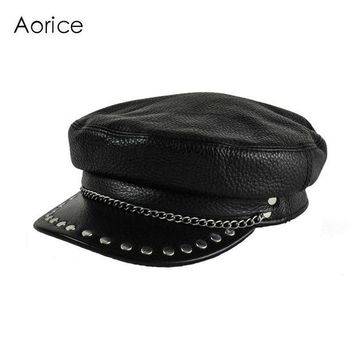 VONG2W HL173-F genuine leather cap Baseball hat women's brand bone militar Black newsboy black caps tactical captain sailor hats unisex
