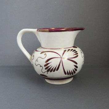 Purple Gold Luster Creamer - Vintage Gray's Pottery 1950s Hand Painted Pitcher, British Pottery, Collectible Gift