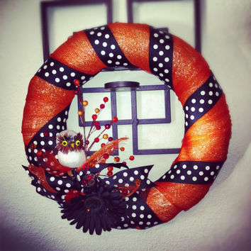 Polka owl wreath  orange deco mesh with black and by MynisaUnique