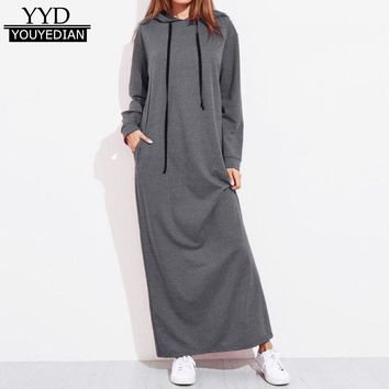 New Arrival Spring Dress 2018 Women Maxi Dress Casual Loose Long Sleeve Hooded Pocket Ladies Hoodies Long Dresses Vestidos *1207