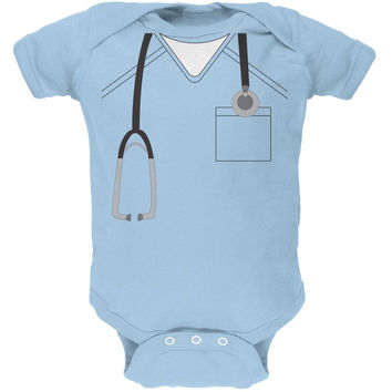 Halloween Doctor Scrubs Costume Light Blue Soft Baby One Piece