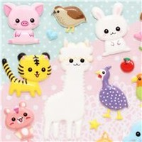 cute sponge animal stickers alpaca pig lion - Sticker Sheets - Sticker - Stationery