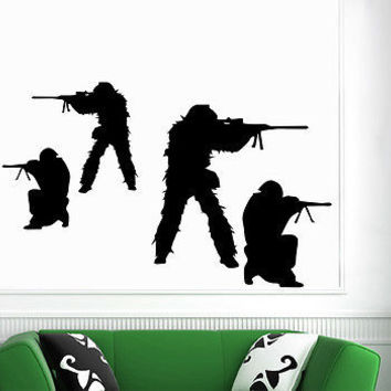 Wall Decals Military Army Rifle Sticker Boy Room Home Decor Vinyl Mural DA3926