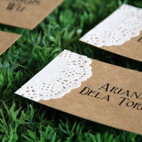 Set of 24 Rustic Doily Place Card - Personalized Wedding Place Card - Name Tag - Favor Tag