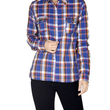 Fitted Plaid Button Down Shirt W/ Studded Pockets