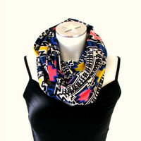 Aztec Print Infinity Scarf, Tribal Spring Fashion Scarf, Jersey Loop Scarf