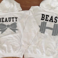 Free//Fast Shipping for US Beauty with Bow and  Beast with Dumbbell Couples Hoodies: White(Black and Gray Decal)