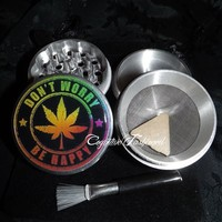 Dont Worry Be Happy Weed Leaf 4 Piece Herb Grinder Grinders Pollen Screen from Cognitive Fashioned