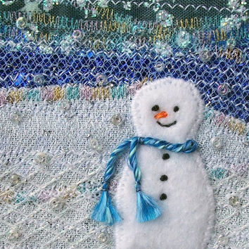 Snowman card - 5 inch square fabric art card - beaded embroidered Christmas card - winter landscape - handmade greeting card