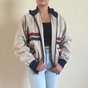 1970s Stripe Bomber Field and Stream Jacket Vintage Size 40, Red tan and blue, Made in Minnesota, USA, Zip Up