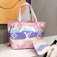 LV 2020 New Inkjet Printing Handbag Shoulder Bag Crossbody Bag Two Piece Set