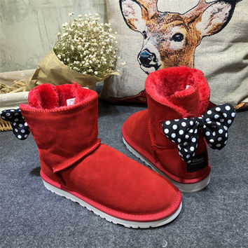 Winter Boots Genuine Leather Cute Women Boots Women Flat Shoes UG Women Warm Luxury Brand Design Ugs Australia Boots Butterfly-knot