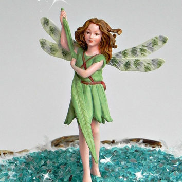 Fairy Accessories, fairy figurine, supply for miniature garden terrarium Cicely Mary Barker Willow Fairy cake topper cute green fairy