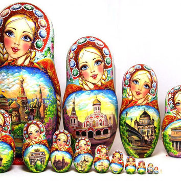 FREE SHIPPING Nesting Doll 15pcs 13 in 35cm. Matryoshka, Russian doll, Russian matryoshka doll, Nested doll – Moscow  with rhinestones