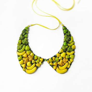 Peter Pen Collar Necklace Happy Vegetables, yellow and green, statement necklace, bib necklace, detachable collar, chunky necklace