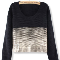 'The Camilla' Black Knitted Sweater in Gold Accent