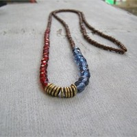 Boho Beaded Long Necklace, Mixed beads Color Block Necklace Red Blue Brown
