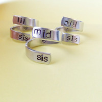 Big Sis Mid Sis Lil Sis Hand Stamped Ring Set of 3 Spiral Adjustable Aluminum Sisters Friendship BFF Love Besties