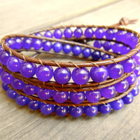 Beaded Leather Wrap Bracelet 3 Wrap with Purple Aventurine Gemstone Beads on Brown Leather