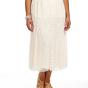 Ruby Rd. Plus Serpentince Lace Gored Skirt - White