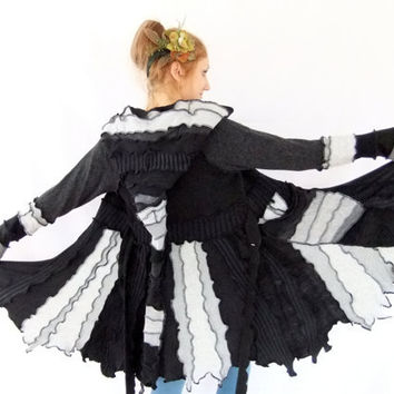Black and grey pixie coat - One of a Kind - Medium - READY to SHIP