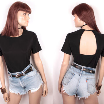 90s open back top // nylon spandex