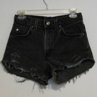 Levi High Waisted Black Denim Shorts Vintage 90s Highwaisted Distressed Cutoffs Cut Off Size 27 / 7 / 8