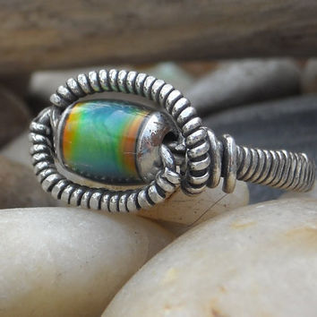 Men's Mood Ring in Sterling Silver Made to Order by WindysDesigns