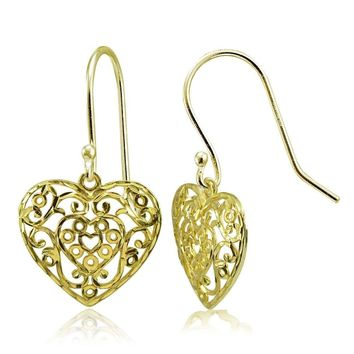 Gold Tone over Silver High Polished Diamond-cut Filigree Heart Dangle Earrings