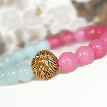 Pink Picture Jasper Lion Head Bracelet Jasper Bracelet Yoga Jewelry Healing Stones Prayer Beads Japa Bracelet Meditation Jewelry Blue Jasper