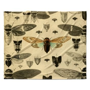 "Suzanne Carter ""Vintage Cicada"" Bugs Pattern Fleece Throw Blanket"