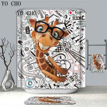 3D Funny Anima Polyester High Quality Shower Curtain Midlewproof with Hooks