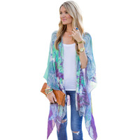 New Womens Casual Floral Printted Loose Long Kimono Cardigan Women Chiffon Blouse Outwear Tops Cover up Blusas Femininas