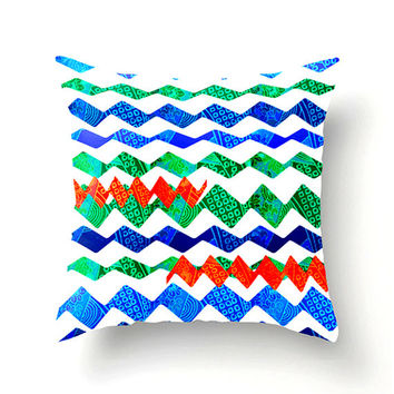 HAPPY DAYS decorative pillow for dorm or home decor, red green cobalt sky blue, square pillow, colorful scatter cushion, pillow cover