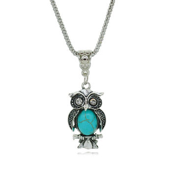 Owl Turquoise Necklaces Silver Pendant