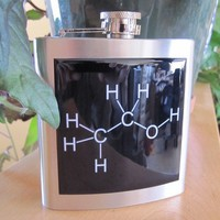Ethanol Molecular Diagram Liquor Hip Flask by stellarcustomimages