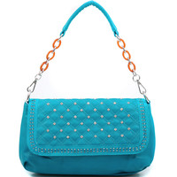 Women's Petite Rhinestone Embellished Shoulder Bag w/ Quilted Flap - Turquoise Color: Turquoise