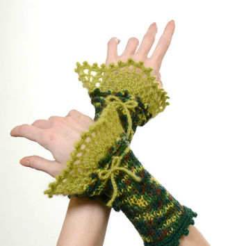Fingerless Gloves - Military Pattern Knitted Wrist Warmers With Green Crochet Lace Decoration