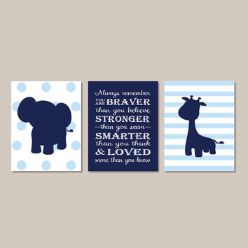 Elephant Nursery WALL ART Boy Nursery Decor Jungle Animals Giraffe Boy Nursery Wall Art Always Remember Navy Set of 3 Prints Or Canvas