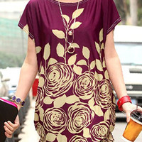 Purple Short Sleeve Floral Dress